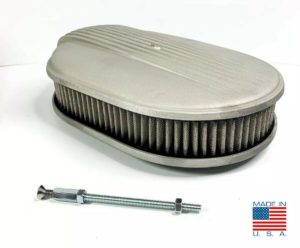 """12"""" Oval Fading Finned Air Cleaner - Unpolished For Ford Chevy Dodge (""""The Comet"""")"""