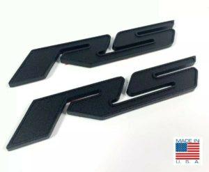 Pair of 2010-2018 Chevrolet Camaro RS Side Emblems -  Black Billet Aluminum
