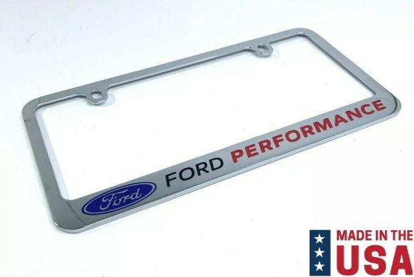 Ford Performance Premium Chrome License Plate Frame w/ Blue Oval Emblem