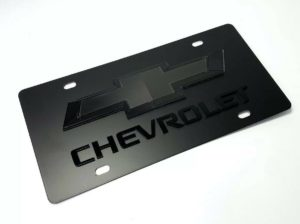 Chevy Bowtie Emblem Black License Plate w/ 3D Gloss Chevrolet Script / Logo