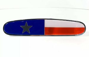 "Chrome Metal Texas Flag Emblem - 10 1/8"" x 2 1/8"" for Freightliner"