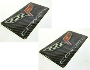 Pair of C6 Chevrolet Corvette Visor Warning Label Covers w/ Emblem (Adhesive)