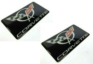 Pair of C5 Chevrolet Corvette Visor Warning Label Covers w/ Emblem (Adhesive)