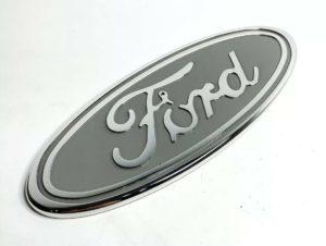 "Ford Grill Tailgate Oval Emblem - 9"" Gray & Chrome Premium Billet Aluminum"