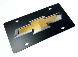 Chevy License Plate - Black with 3D Gold & Silver Bowtie Emblem / Logo