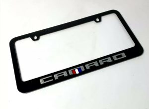 Chevy Camaro Black License Plate Frame - Premium Engraved