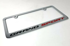 Chevy Corvette C7 Grand Sport Chrome License Plate Frame - Premium Engraved