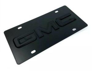 GMC Emblem Premium Black License Plate - 3D Logo (Sierra, Yukon, Canyon)