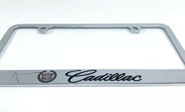 Cadillac Premium Chrome License Plate Frame w/ Black Script Emblem