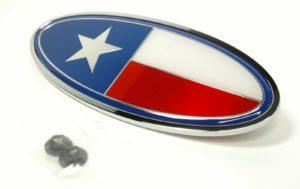 "Chrome Metal Texas Flag Emblem - 8"" x 3.25"" Ornament for Peterbilt"