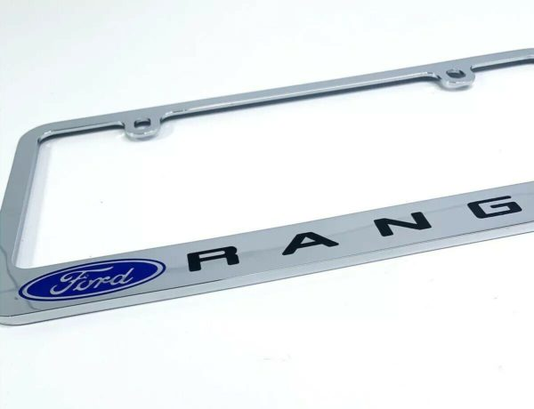 Ford Ranger Premium Chrome License Plate Frame w/ Blue Oval Emblem