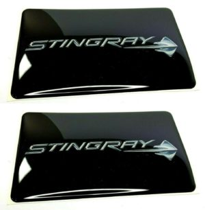 Pair of C7 Stingray Corvette Visor Warning Label Covers w/ Emblem (Adhesive)