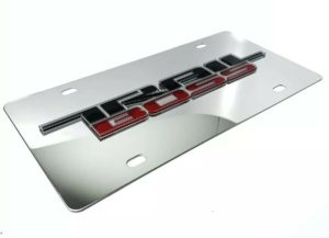 Chevy Silverado Trail Boss Emblem Chrome License Plate - 3D Gloss Logo