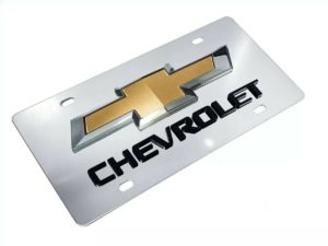 Chrome Chevy Bowtie Emblem License Plate w/ 3D Gloss Chevrolet Script Logo