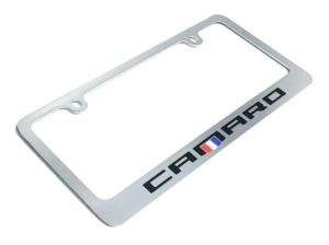 Chevy Camaro Chrome License Plate Frame - Premium Engraved Emblem