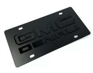 GMC Denali Emblem Premium Full Black License Plate - 3D Logo
