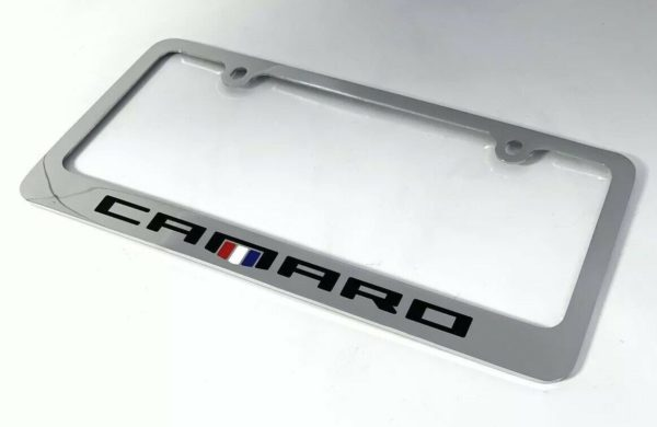 Chevy Camaro Chrome License Plate Frame - Premium Engraved Emblem