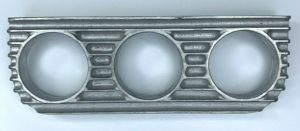 Finned Under Dash Triple Gauge Panel - Unpolished Cast Aluminum