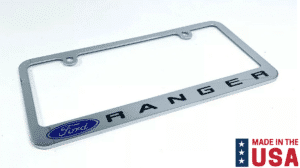 Ford Ranger Premium Chrome License Plate Frame w/ Blue Oval Emblem