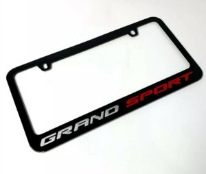 Chevy C7 Grand Sport Corvette Black License Plate Frame - Premium Engraved