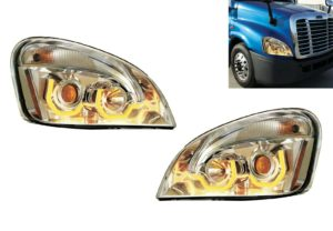 Pair of Chrome Projection Headlights with Amber LED Lights for Freightliner Cascadia