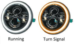 2007-18 Jeep Wrangler JK Switchback LED Halo Headlights - DRL & Turn Signal