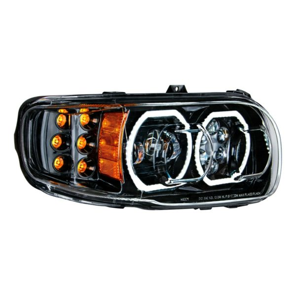 Pair of Blackout LED Headlights with LED Halos & Turn Signals for Peterbilt 388/389