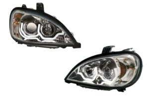 Pair of Chrome Headlights with White LED U-Bar Lights for Freightliner Columbia