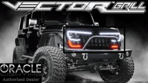 2007-17 Jeep Wrangler JK LED Grille w/ Headlights & Turn Signal - Flat Black