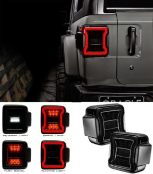 """2018-2020 Jeep Wrangler JL Pair LED Tail Lights - """"Blacked Out Series"""" Premium"""