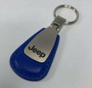 Jeep Wrangler Cherokee JK Keychain - Blue Leather Teardrop Licensed w/ Emblem