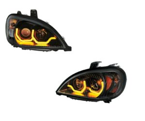 """Pair """"Blackout"""" Headlights with Dual LED Amber Light Bar for Freightliner Columbia"""