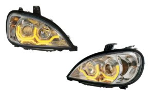 Pair of Chrome Headlights with Amber LED Dual Lights for Freightliner Columbia