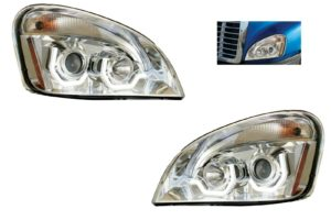 Pair of Chrome Projection Headlights with LED U-Bar Light for Freightliner Cascadia
