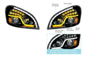 Pair of LED Blackout Headlights with Dual LED DRL & Turn for Freightliner Cascadia