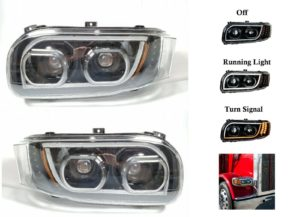 Pair of All LED Headlights with Dual Function LED Halo DLR for Peterbilt 388/389