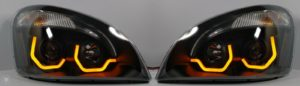 Pair of Blackout Freightliner Cascadia Projection Headlights with Dual LED Lights