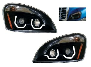 Pair of Blackout Headlights with LED Position Lights for Freightliner Cascadia