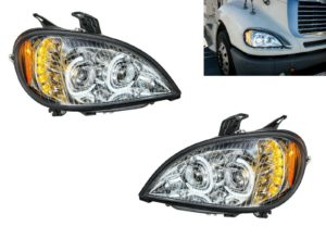 Pair of Chrome Headlights with LED Turn Signal Lights for Freightliner Columbia