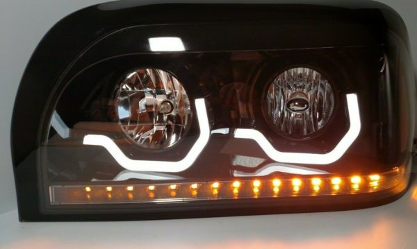 Pair Blackout Headlights with LED Turn Signal & Light Bar for Freightliner Century