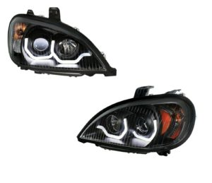 """Pair """"Blackout"""" Headlights with White LED Light Bar for Freightliner Columbia"""