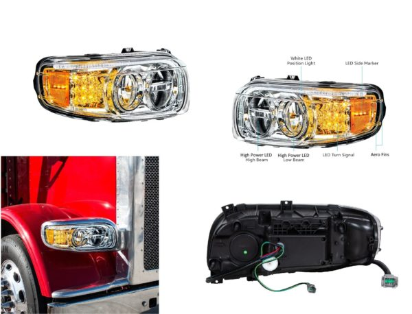 Pair of Premium LED Headlights with LED DRL & Turn Signals for Peterbilt 388/389