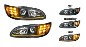 Pair of Blackout Projection Headlights with Dual LED Turn Signals for Peterbilt
