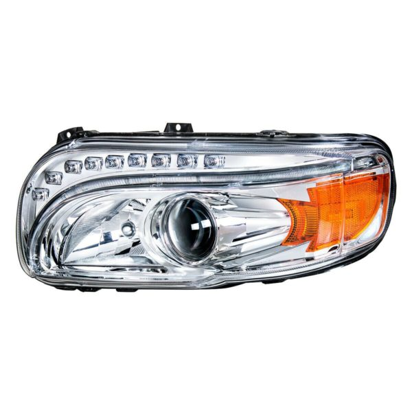 Pair of Projection Headlights with LED Light Bar & Turn Signals for Peterbilt 388/389
