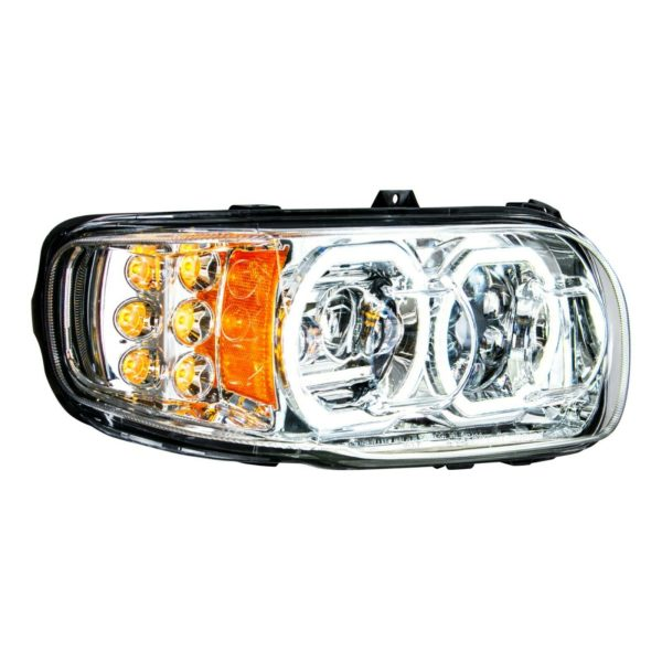 Pair of All LED Headlights with LED Halos DLR & Turn Signals for Peterbilt 388/389