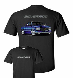Chevy Silverado T-Shirt - Black w/ Blue 2000 SS Pickup Truck (Licensed)