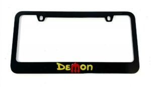 Dodge Demon License Plate Frame - Black with Yellow & Red Script