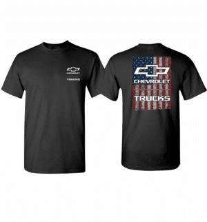 Chevrolet Trucks T-Shirt - Black w/ Bowtie Emblem American Flag (Licensed)