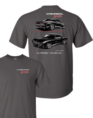 Chevy Camaro Z/28 T-Shirt - Gray w/ Black Cars & Emblem (Licensed)