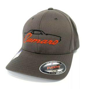 1st Generation Chevy Camaro Hat / Cap - Gray w/ Black Silhouette & Script Emblem